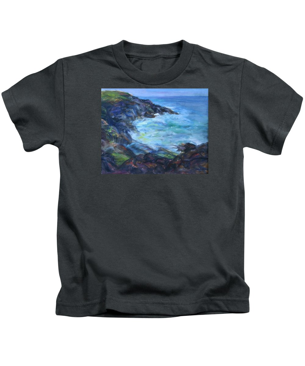 Quin Sweetman Kids T-Shirt featuring the painting Rocky Creek Viewpoint by Quin Sweetman