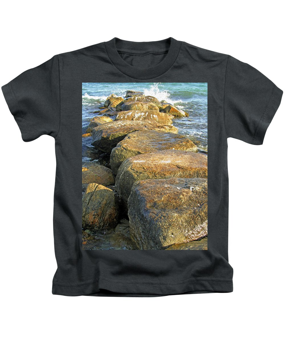 Rocky Beach Kids T-Shirt featuring the photograph Rocky Spar by Mark Sellers