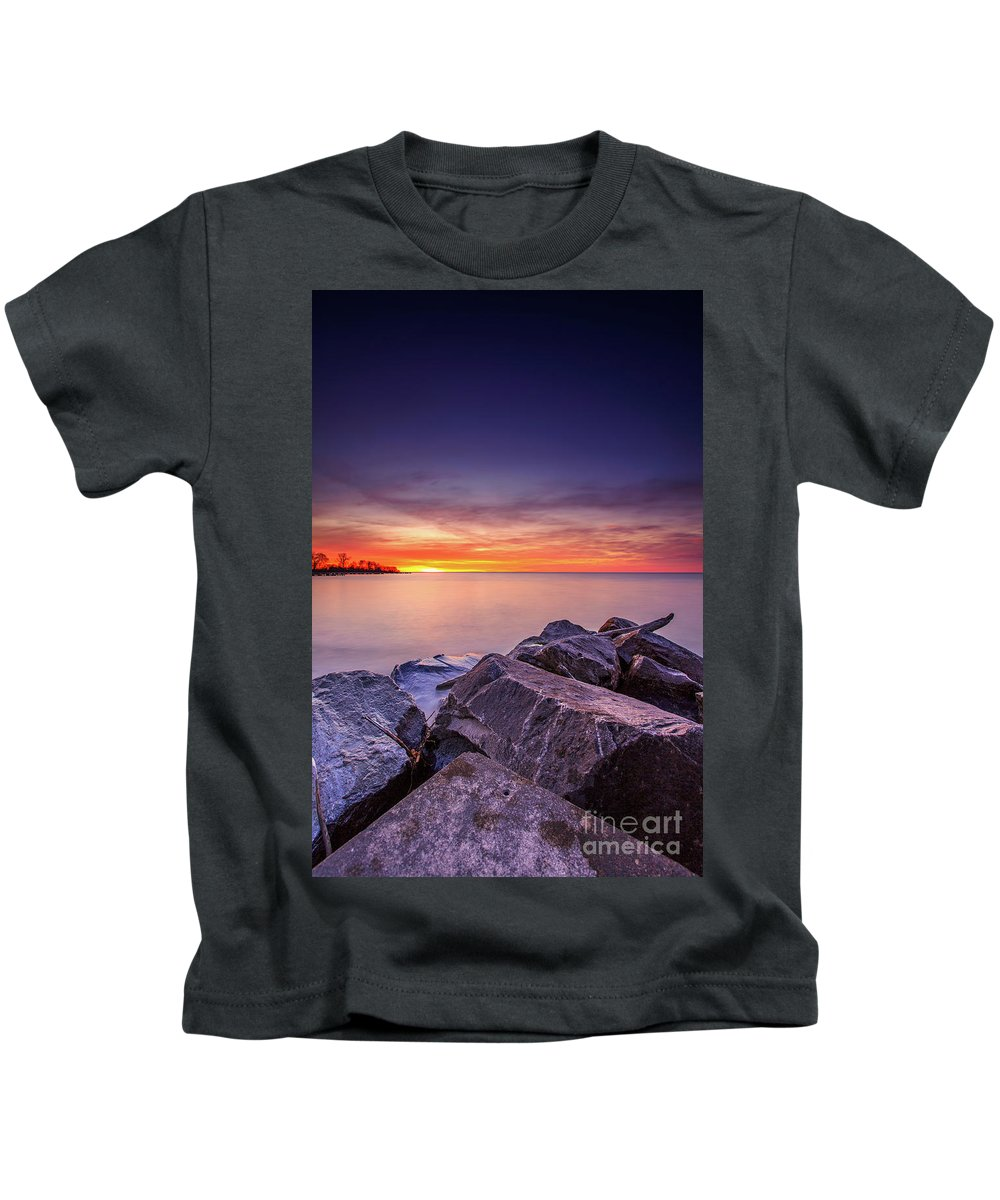 Clouds Kids T-Shirt featuring the photograph Rocky Sunrise by Andrew Slater
