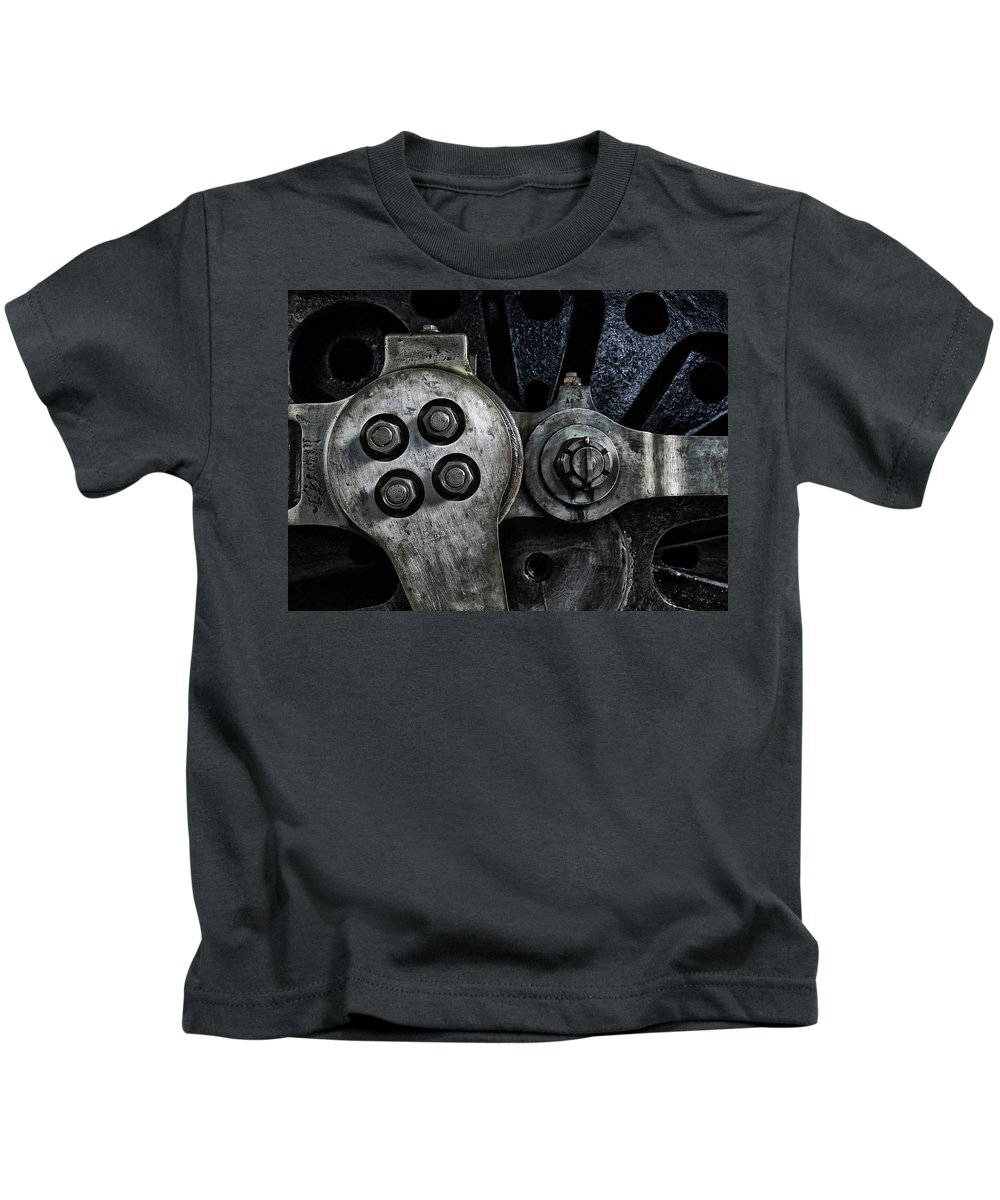 Locomotive Kids T-Shirt featuring the photograph Rods And Bolts by Philip Openshaw