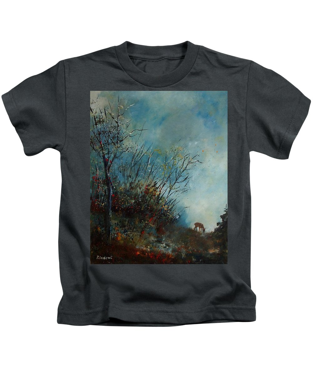 Animal Kids T-Shirt featuring the painting Roedeer In The Morning by Pol Ledent
