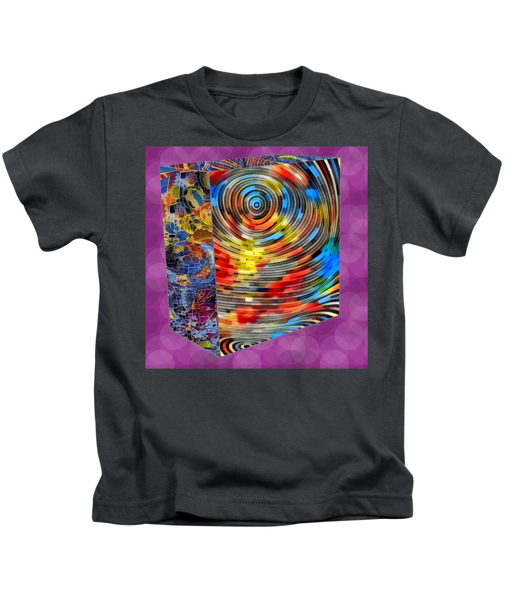 Digital Art. Abstract. Mad Vision. Riot. Explosion. Kids T-Shirt featuring the digital art Roll With It by Lawrence Allen