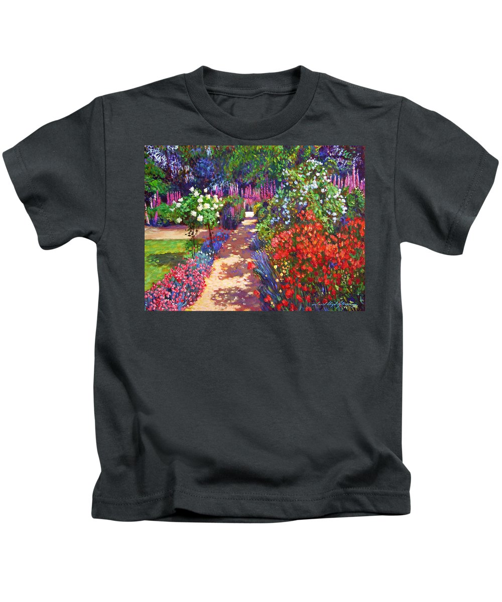 Impressionism Kids T-Shirt featuring the painting Romantic Garden Walk by David Lloyd Glover