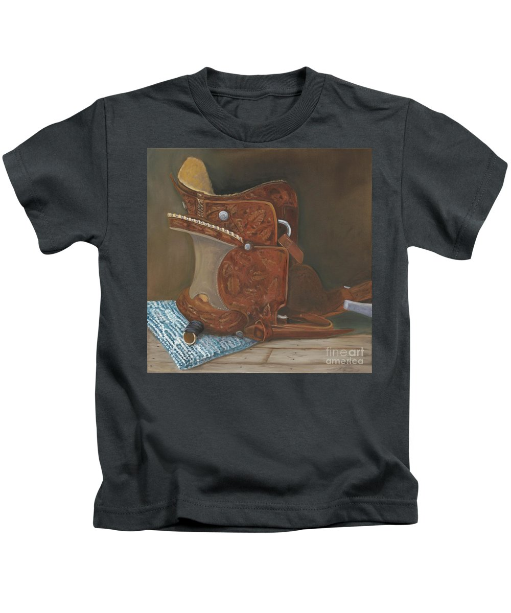 Saddle Kids T-Shirt featuring the painting Roping Saddle by Mendy Pedersen