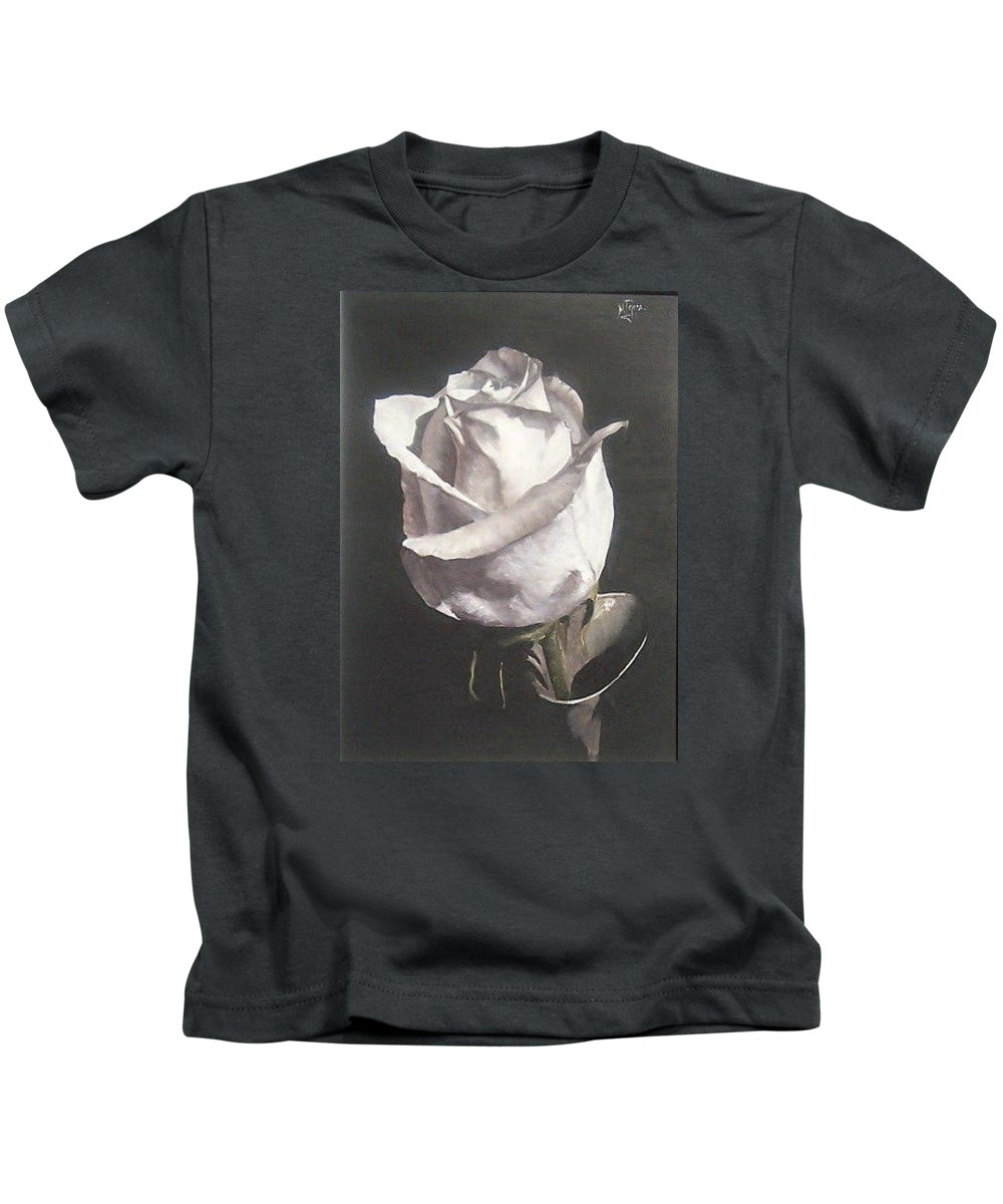 Rose Floral Nature White Flower Kids T-Shirt featuring the painting Rose 2 by Natalia Tejera