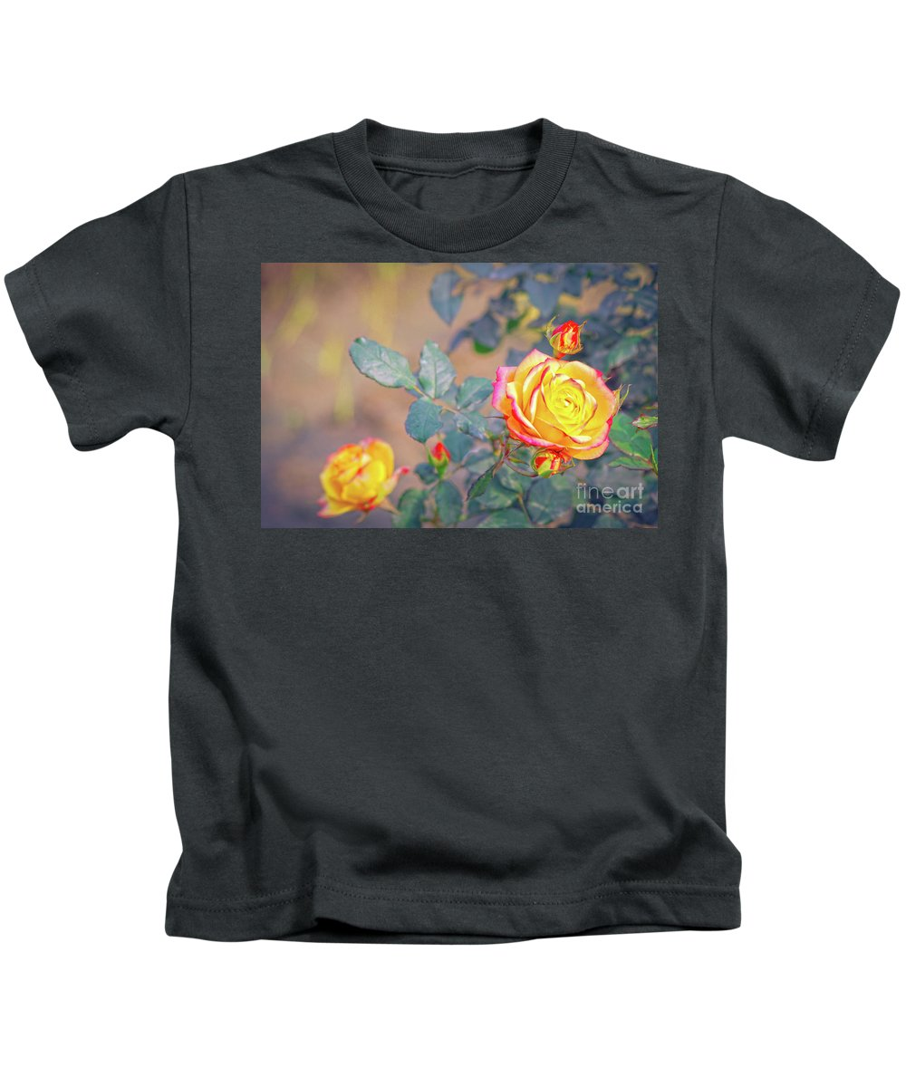 Flower Kids T-Shirt featuring the photograph Rose At Sunset by Neha Gupta