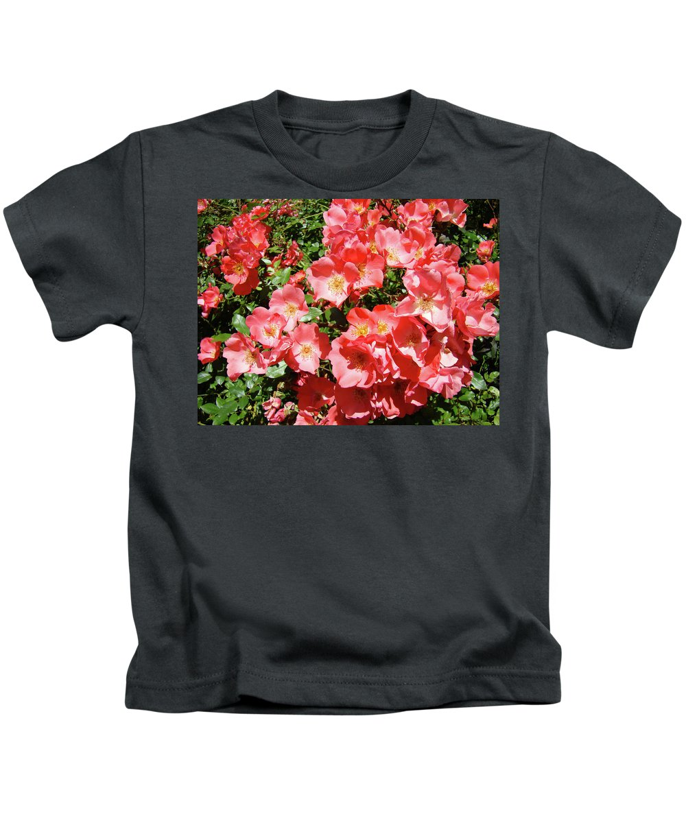 Rose Kids T-Shirt featuring the photograph Rose Garden Pink Roses Botanical Landscape Baslee Troutman by Baslee Troutman