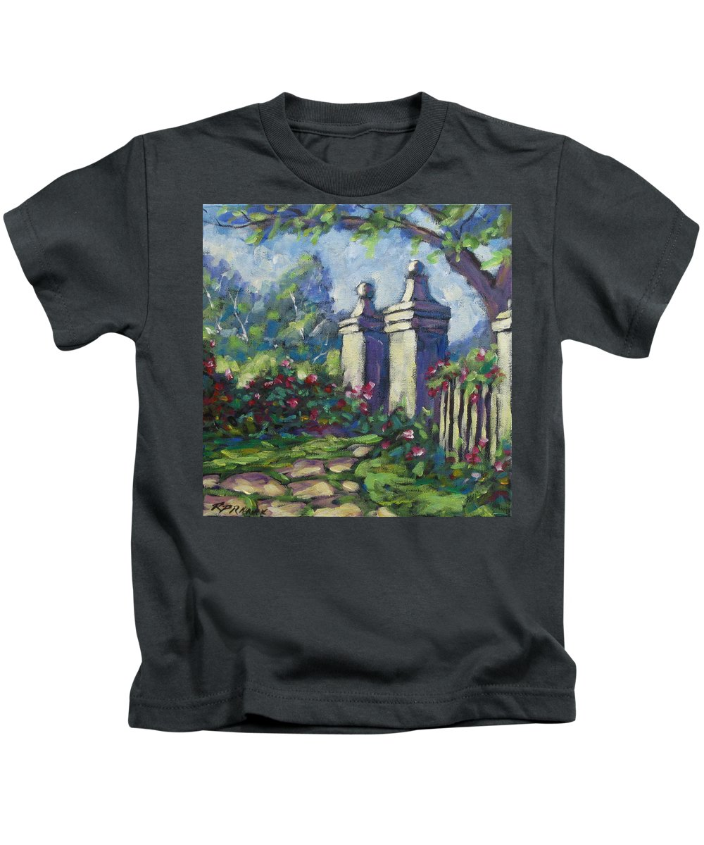 Rose Kids T-Shirt featuring the painting Rose Garden by Richard T Pranke