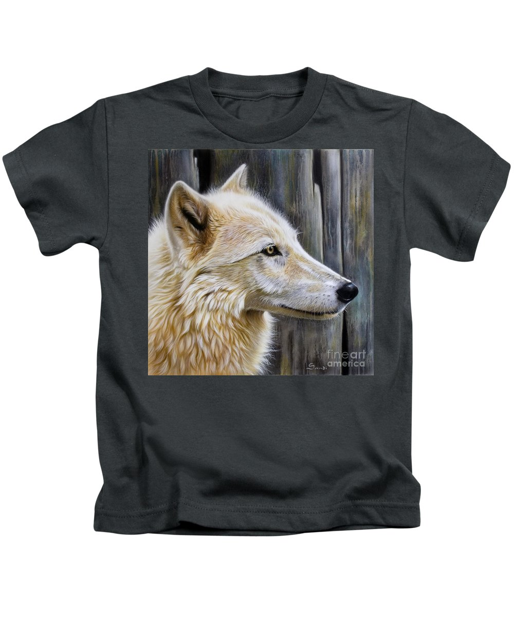 Wolves Kids T-Shirt featuring the painting Rose by Sandi Baker