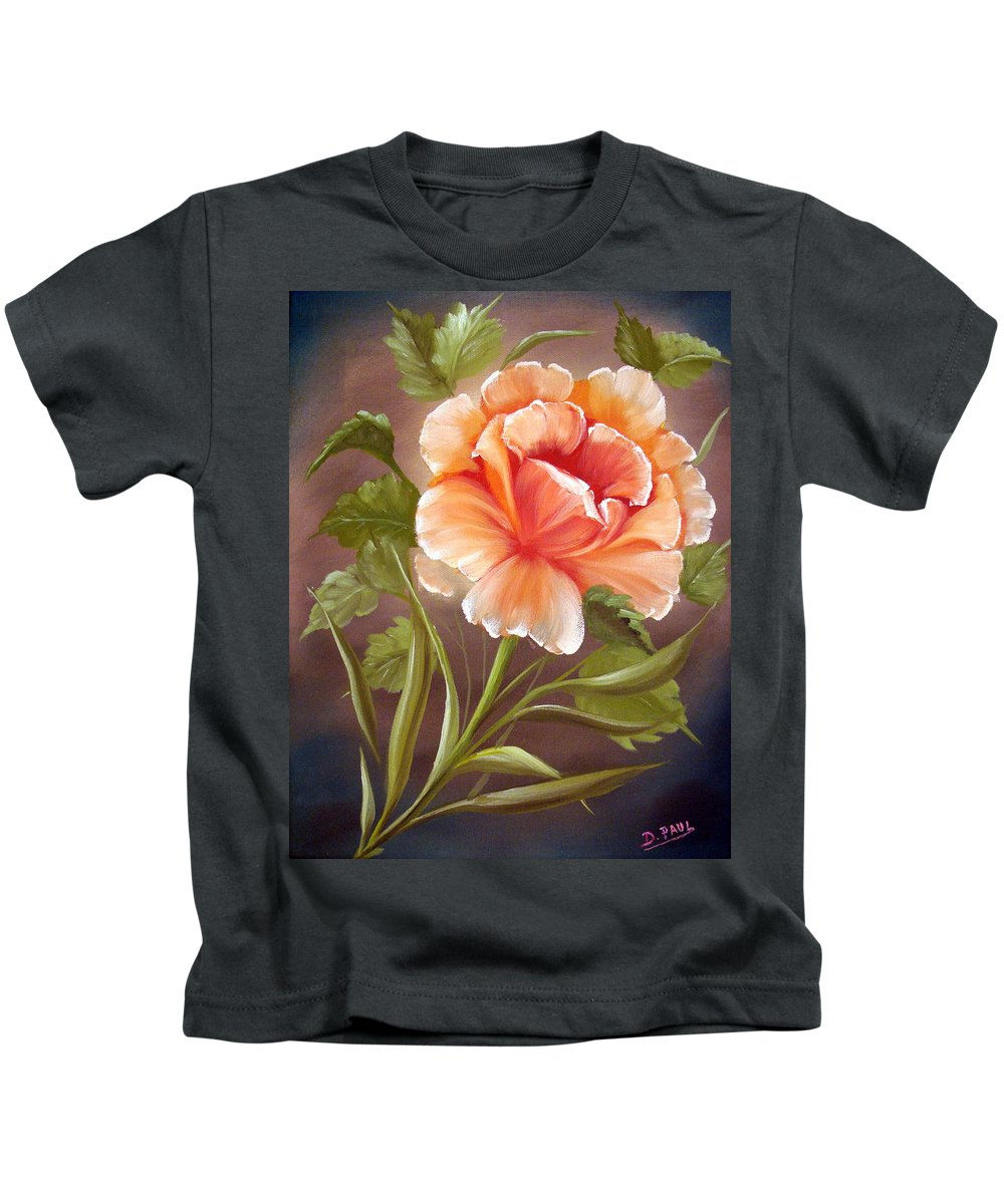 Rose Kids T-Shirt featuring the painting Rose Tropicana by David G Paul