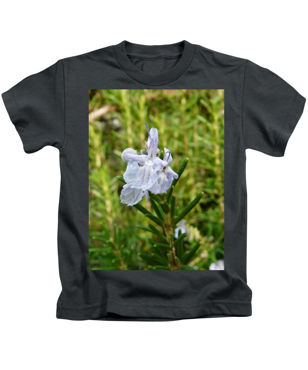 Rosemary Kids T-Shirt featuring the photograph Rosemary Bloom by Valerie Ornstein