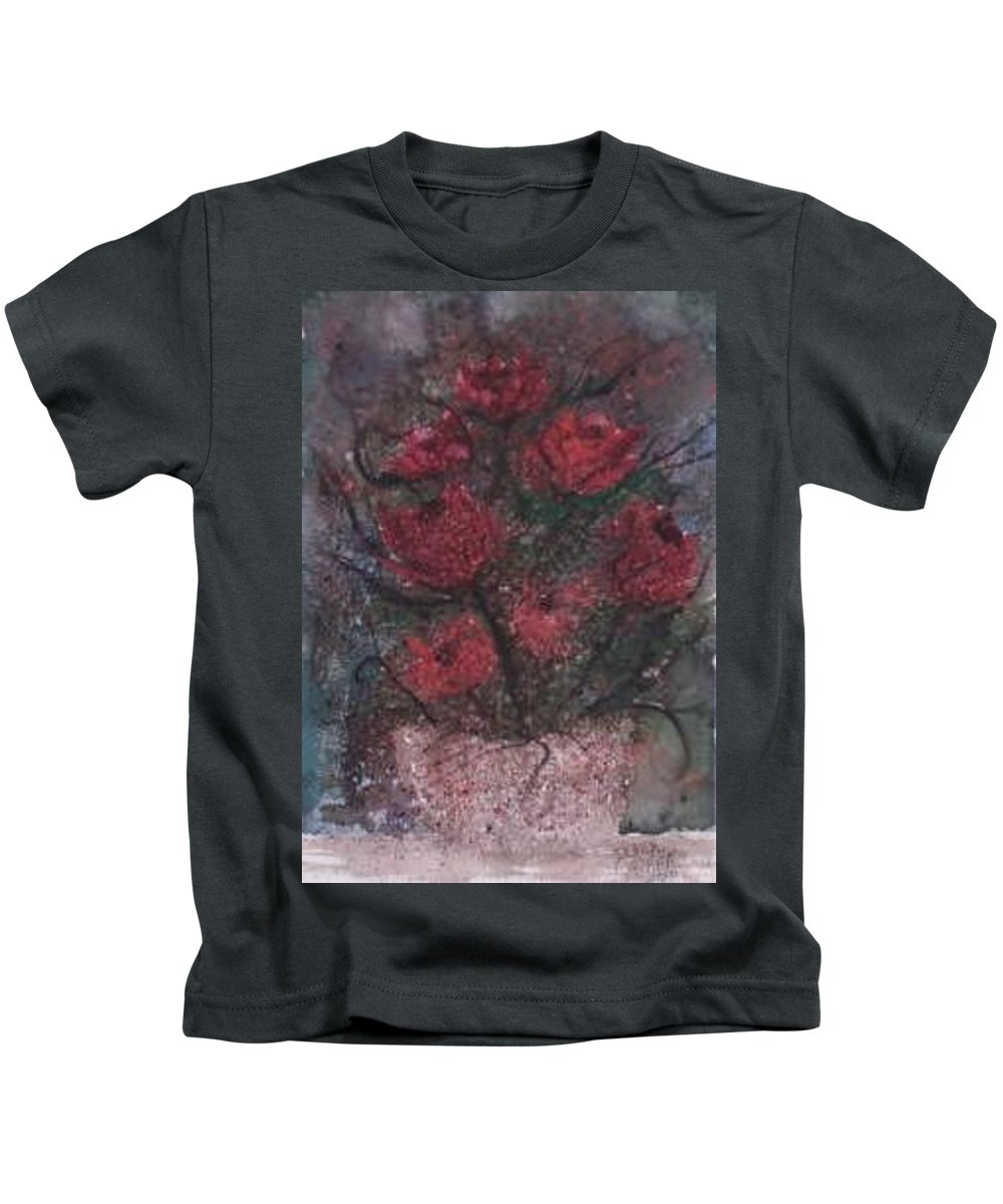 Watercolor Kids T-Shirt featuring the painting Roses At Night Gothic Surreal Modern Painting Poster Print by Derek Mccrea
