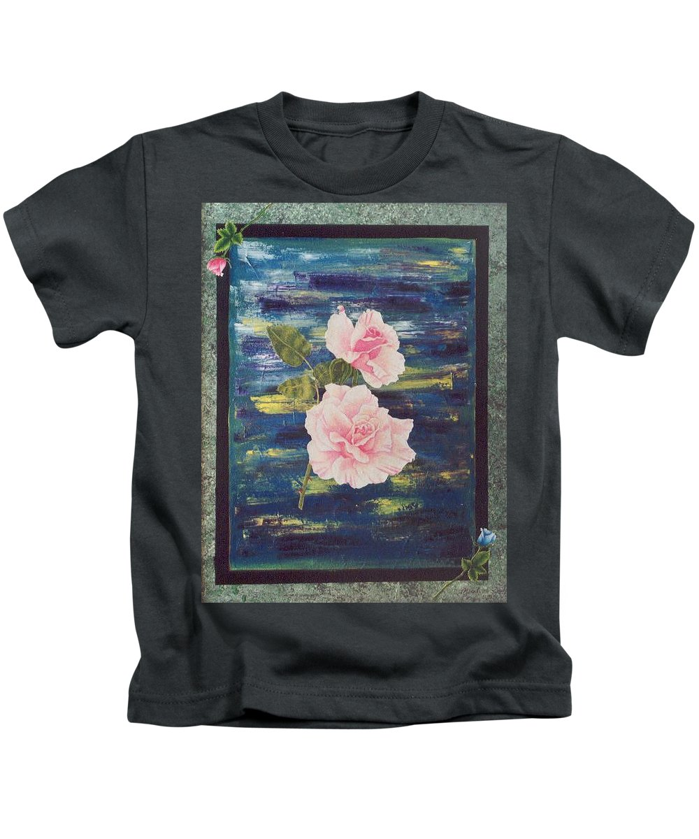 Rose Kids T-Shirt featuring the painting Roses by Micah Guenther