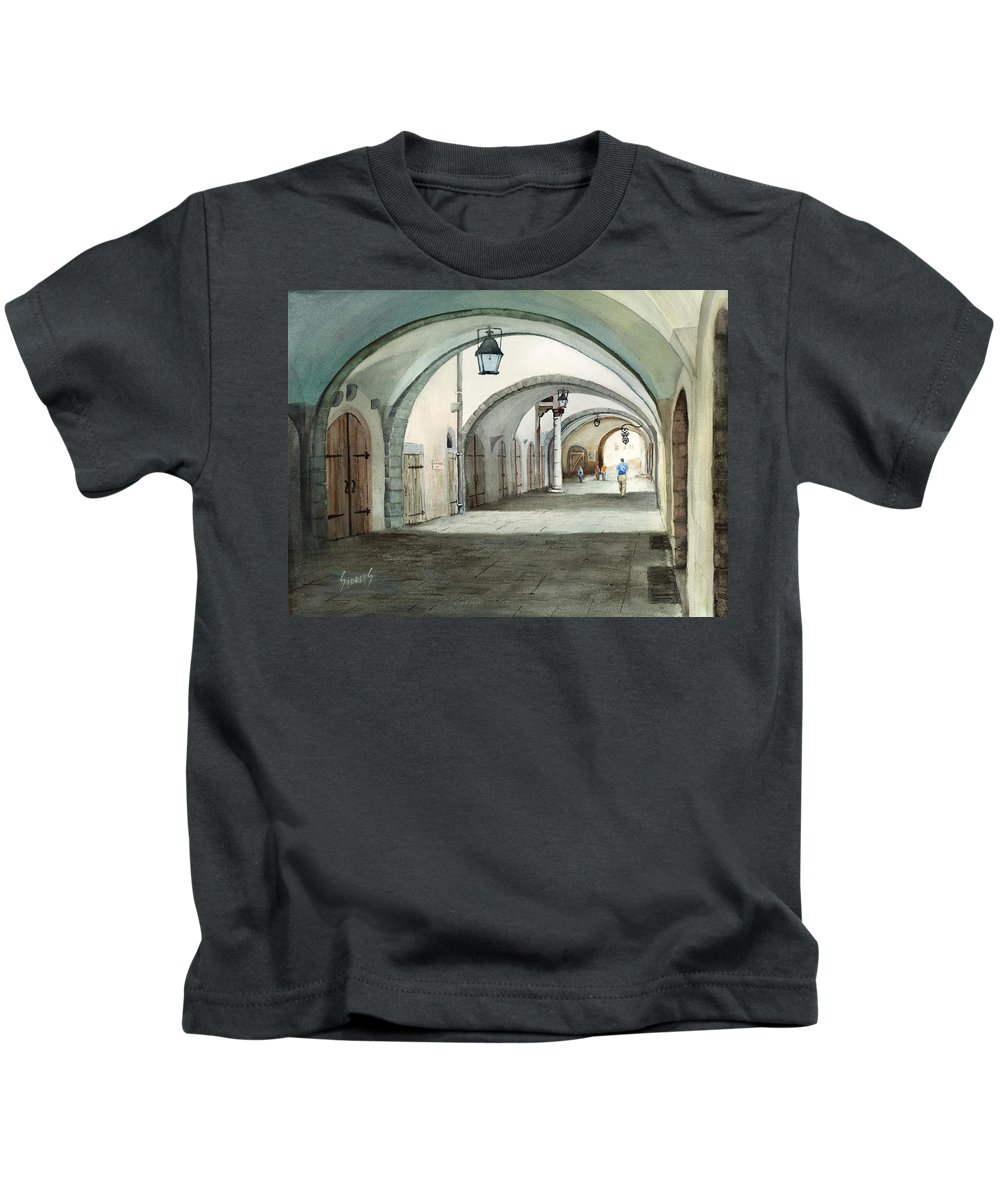 Germany Kids T-Shirt featuring the painting Rothenburg Backstreet by Sam Sidders