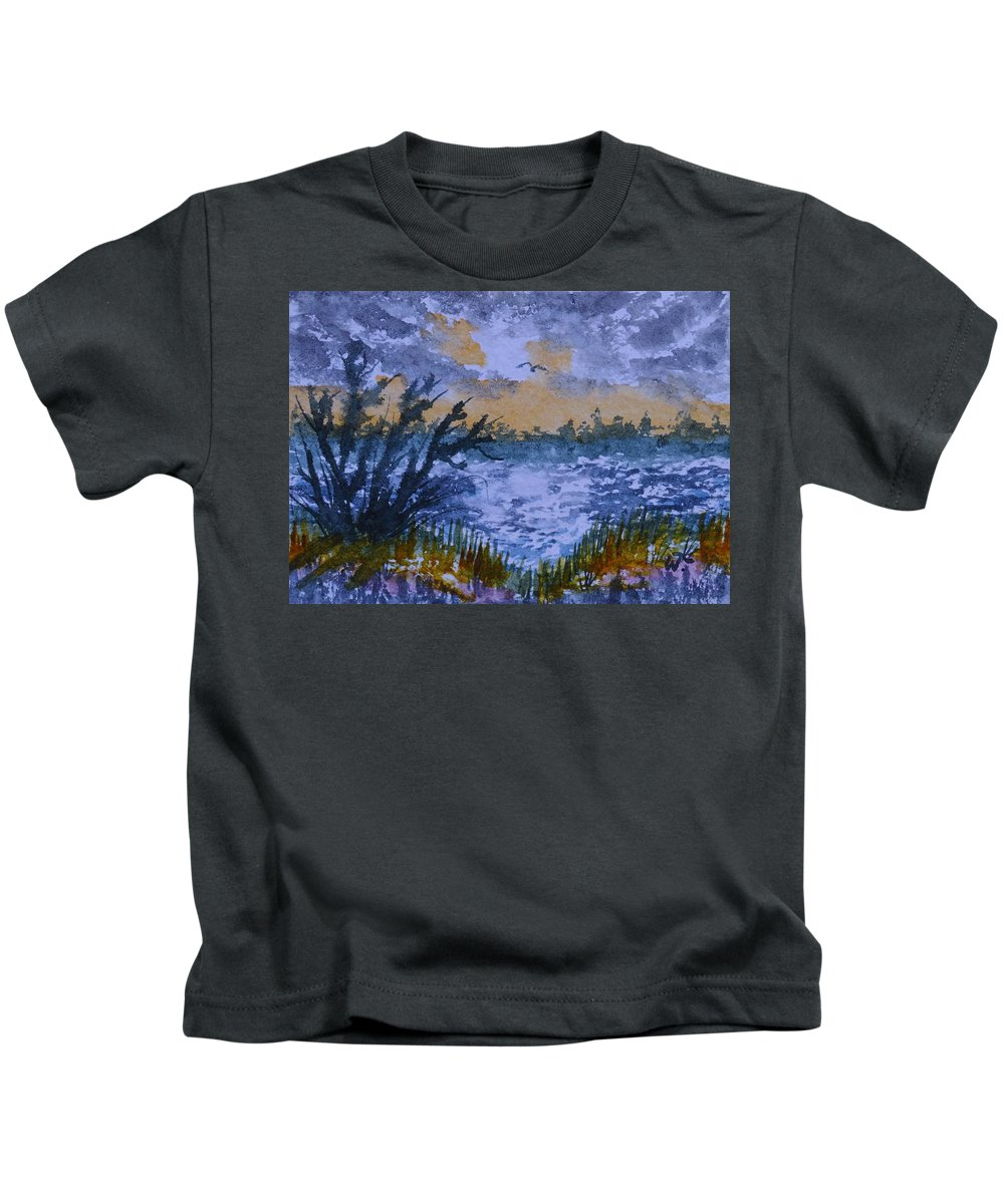 Rough Sunrise At Orange Creek Kids T-Shirt featuring the painting Rough Sunrise At Orange Creek by Warren Thompson