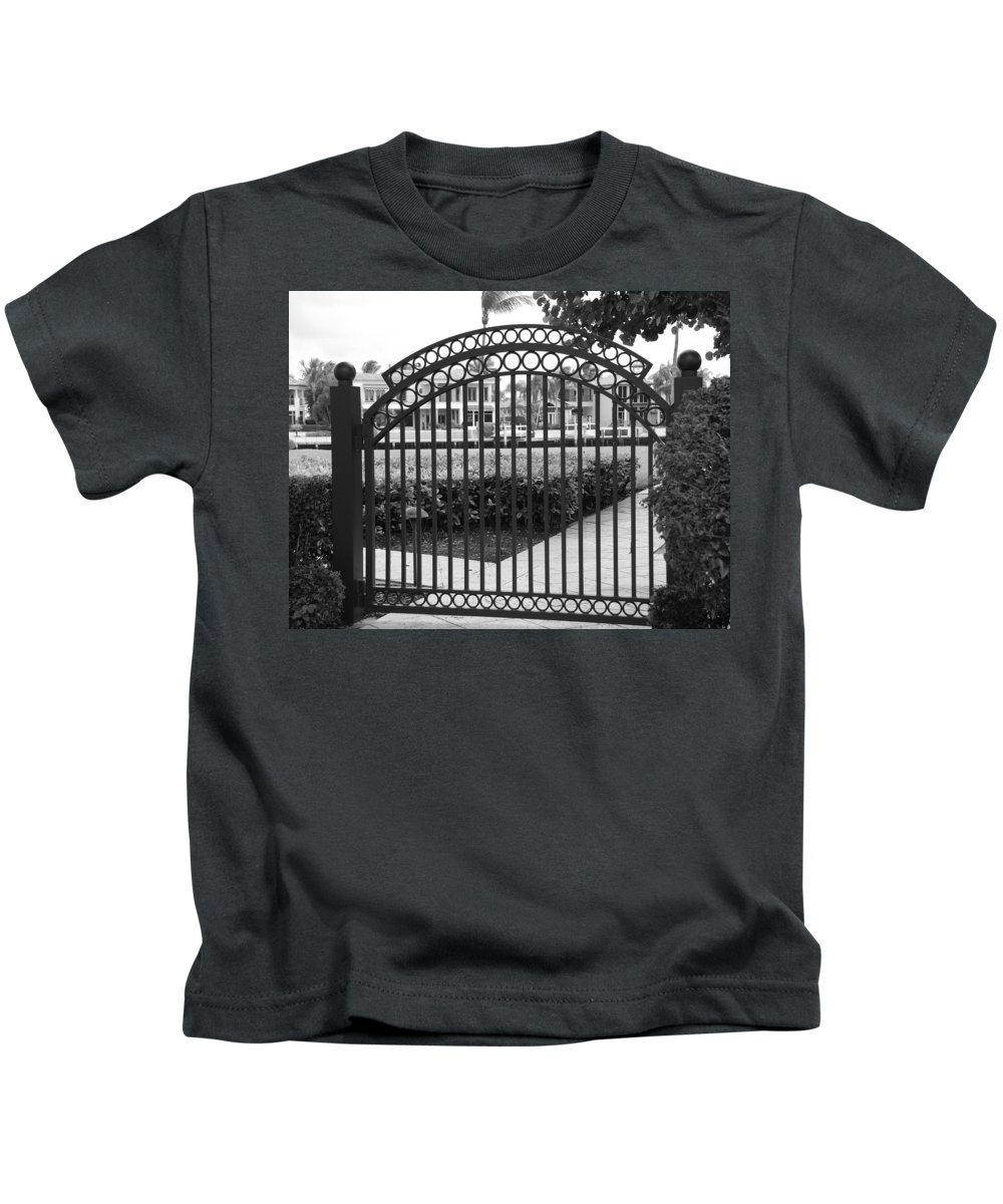 Gate Kids T-Shirt featuring the photograph Royal Palm Gate by Rob Hans