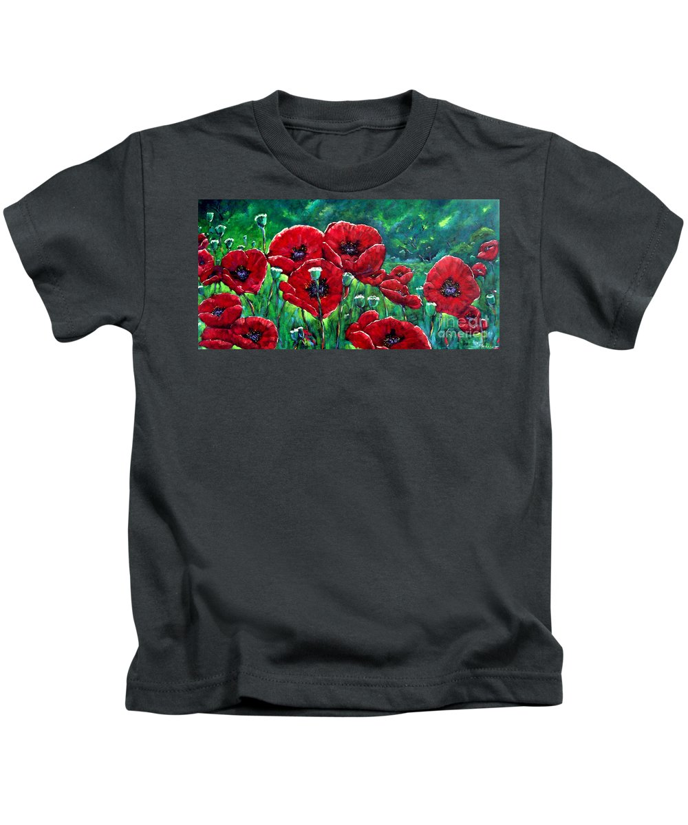 Forest Kids T-Shirt featuring the painting Rubies In The Emerald Forest by Richard T Pranke