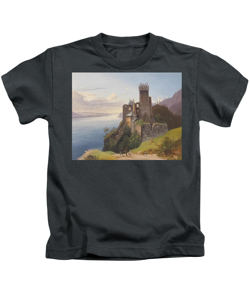 Josef Holzer Ruin Weitenegg Kids T-Shirt featuring the painting ruin Weitenegg by MotionAge Designs