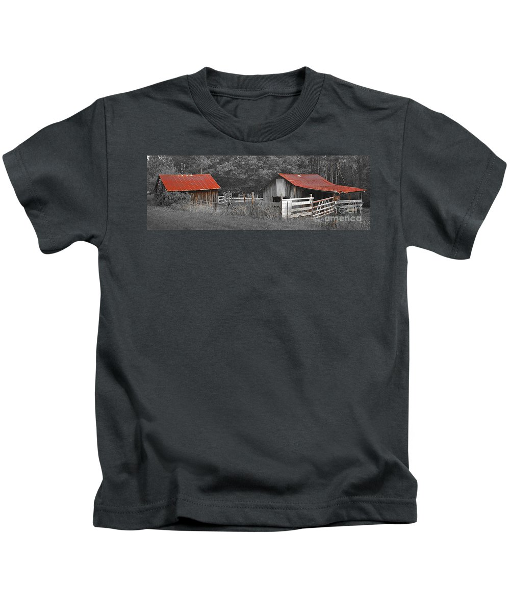 Barn Kids T-Shirt featuring the photograph Rural Serenity Black And White Version - Red Roof Barn Rustic Country Rural by Jon Holiday