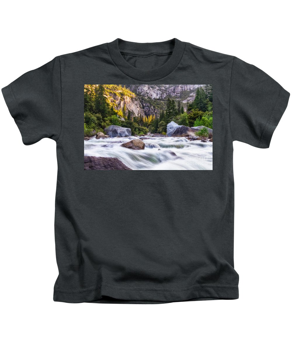 Sierras Kids T-Shirt featuring the photograph Rush Of The Merced by Anthony Bonafede