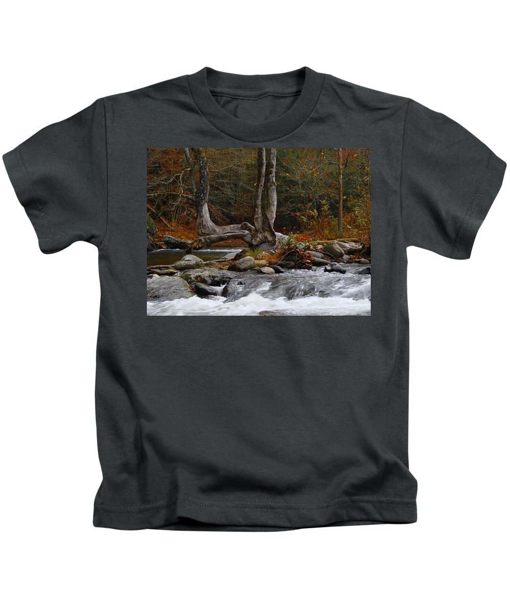 Creek Kids T-Shirt featuring the photograph Rushing Water by Mark Hill