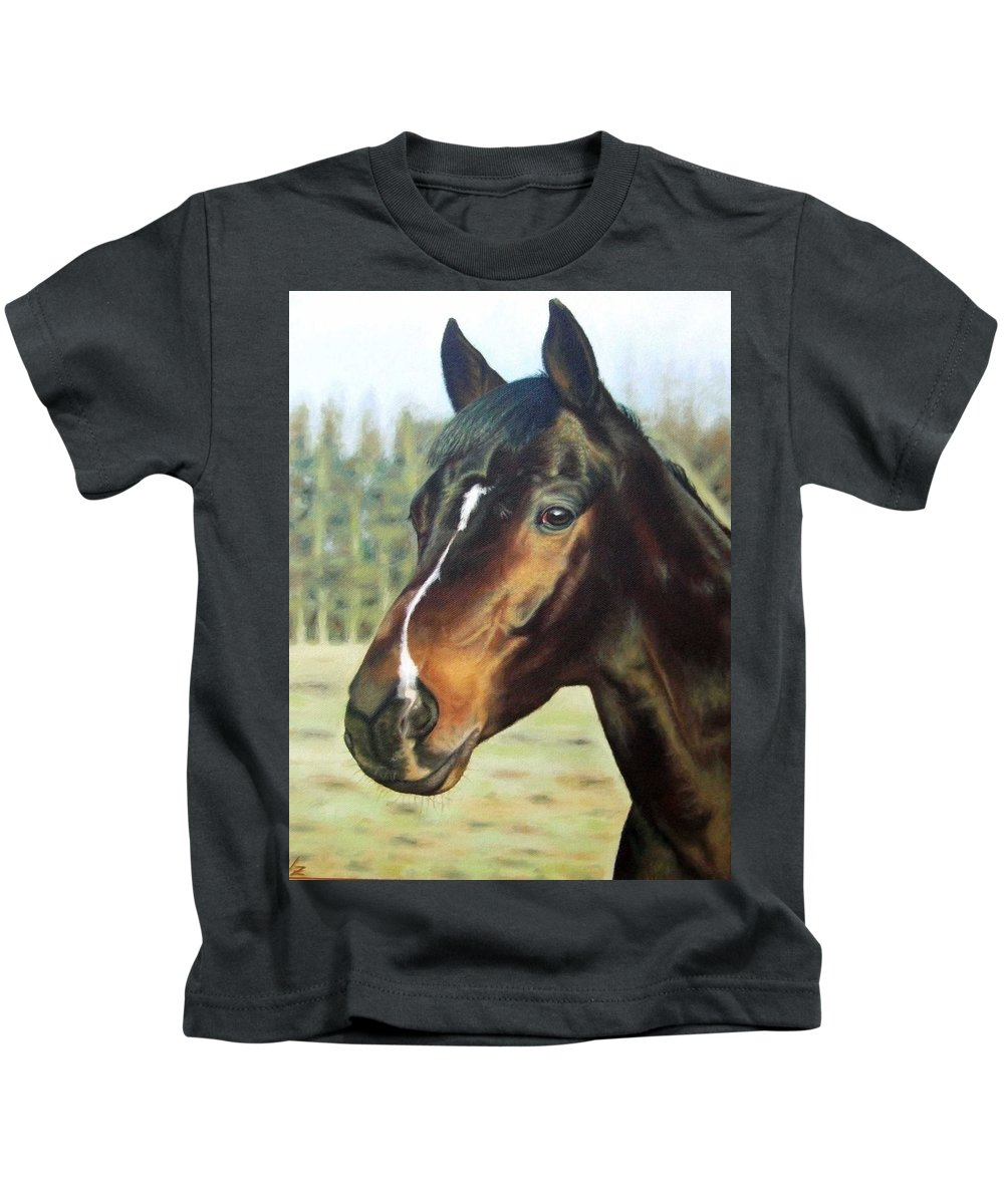 Horse Kids T-Shirt featuring the painting Russian Horse by Nicole Zeug