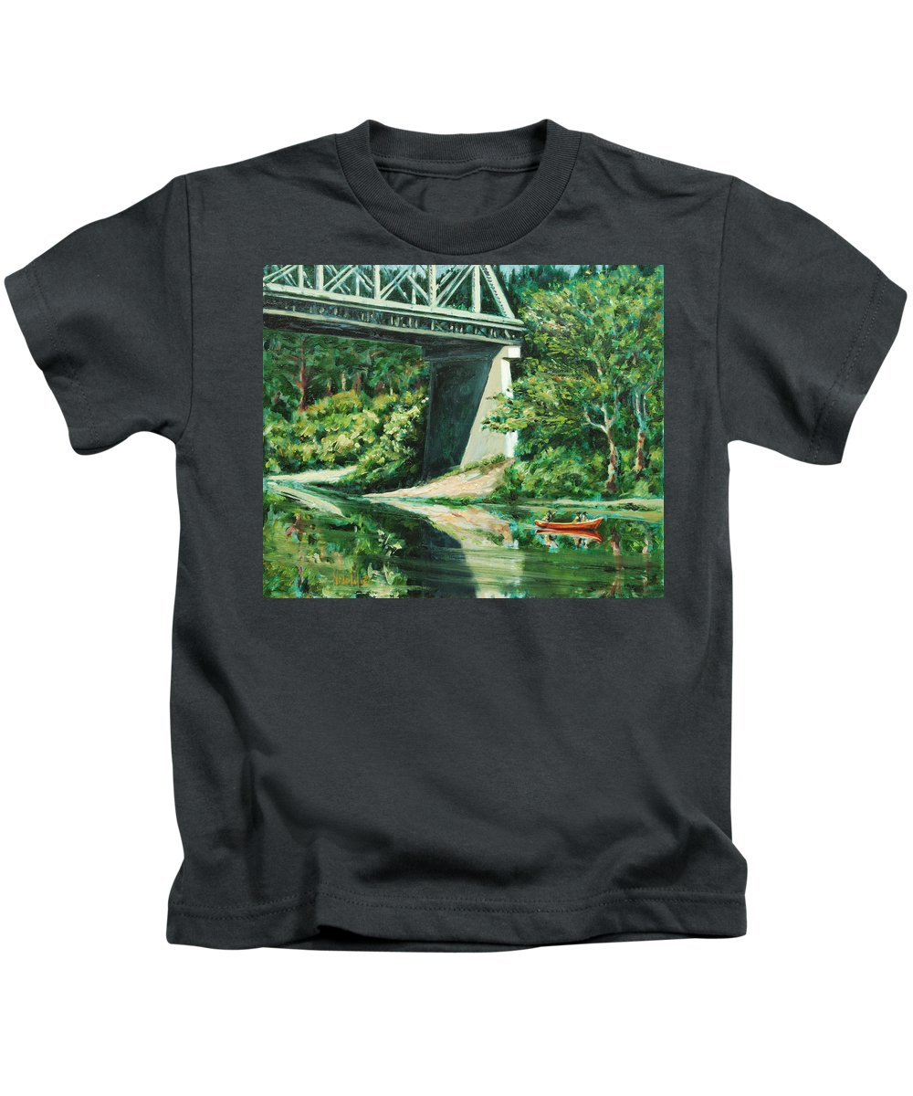 River Kids T-Shirt featuring the painting Russian River by Rick Nederlof