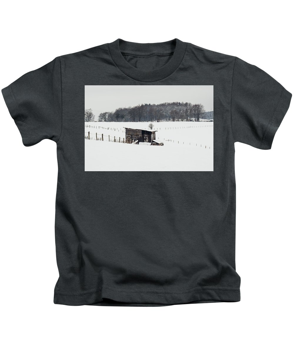 Wooden Stable Kids T-Shirt featuring the photograph Rustic Shed In The Winter by Pati Photography