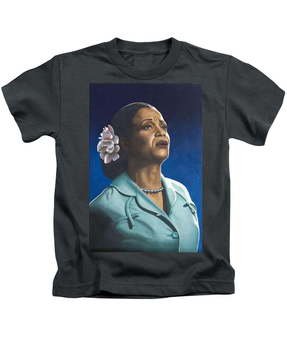 Portrait Kids T-Shirt featuring the painting Ruth Jacott by Rob De Vries
