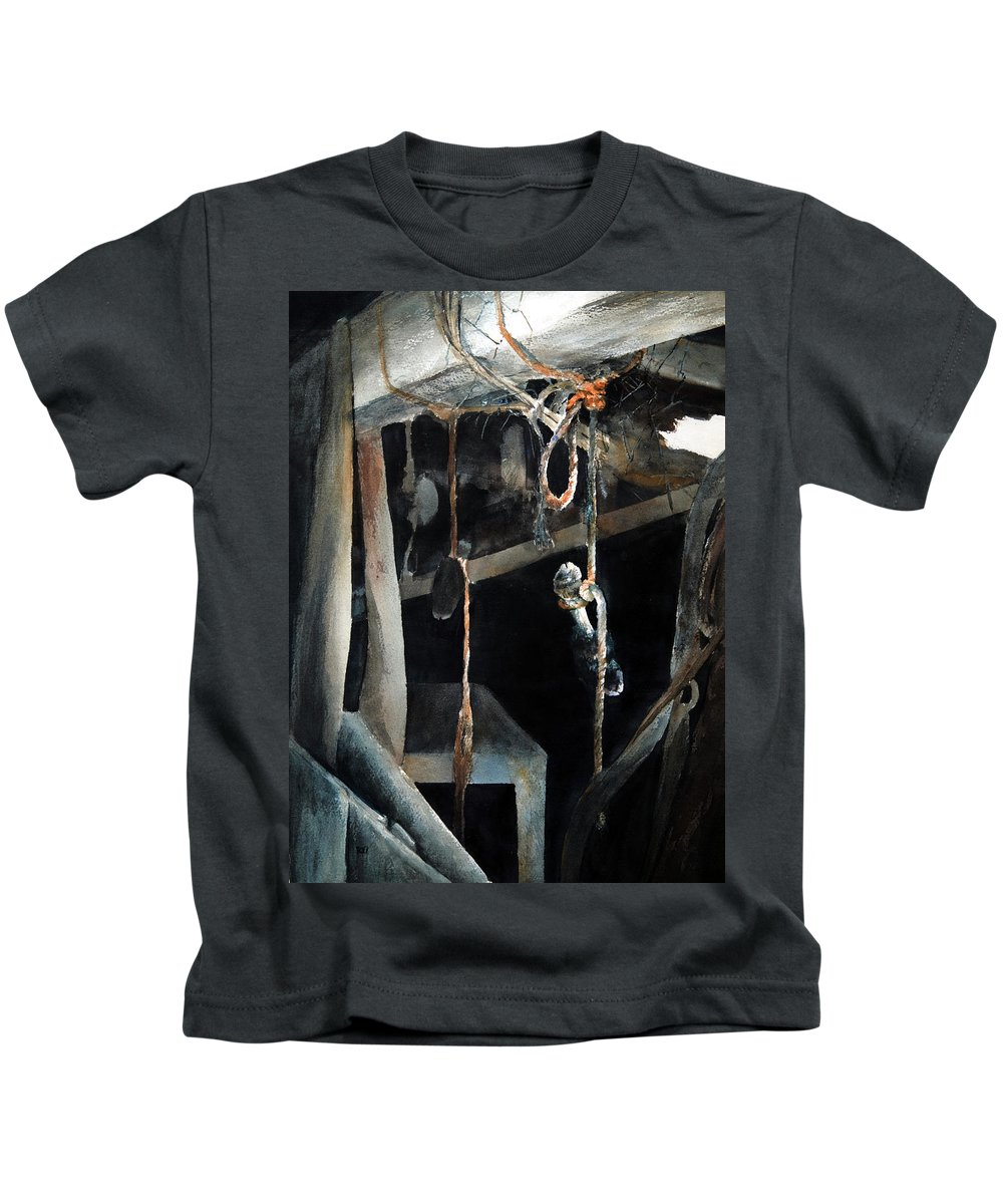 Abstract Kids T-Shirt featuring the painting Sacrifice by Rachel Christine Nowicki