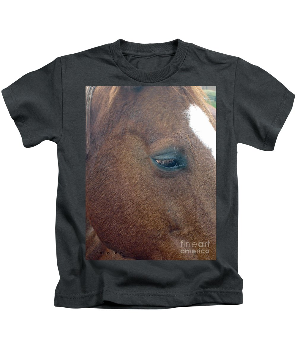 Horse Kids T-Shirt featuring the photograph Sad Eyed by Shelley Jones