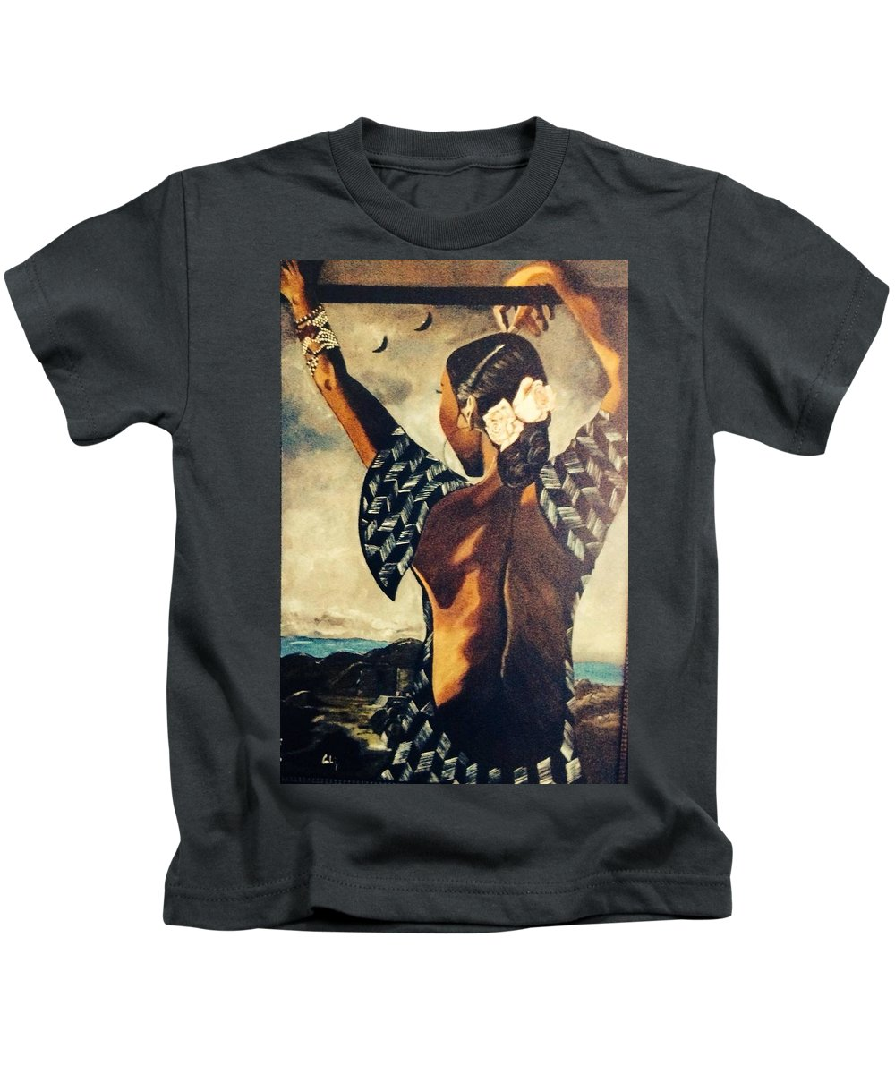 Kids T-Shirt featuring the painting Sade by Carlaj Sanders