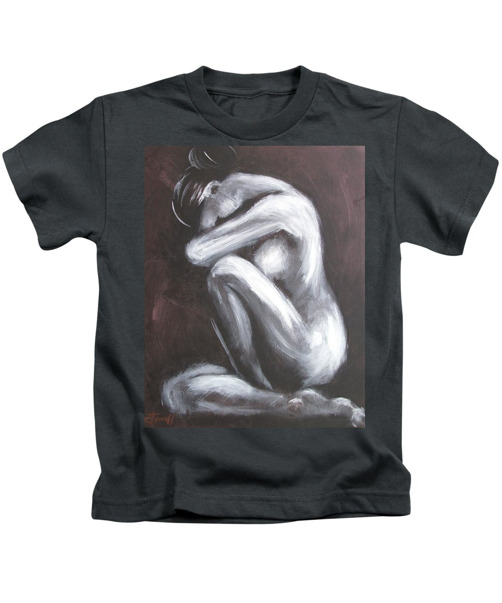 Sadness Kids T-Shirt featuring the painting Sadness by Carmen Tyrrell