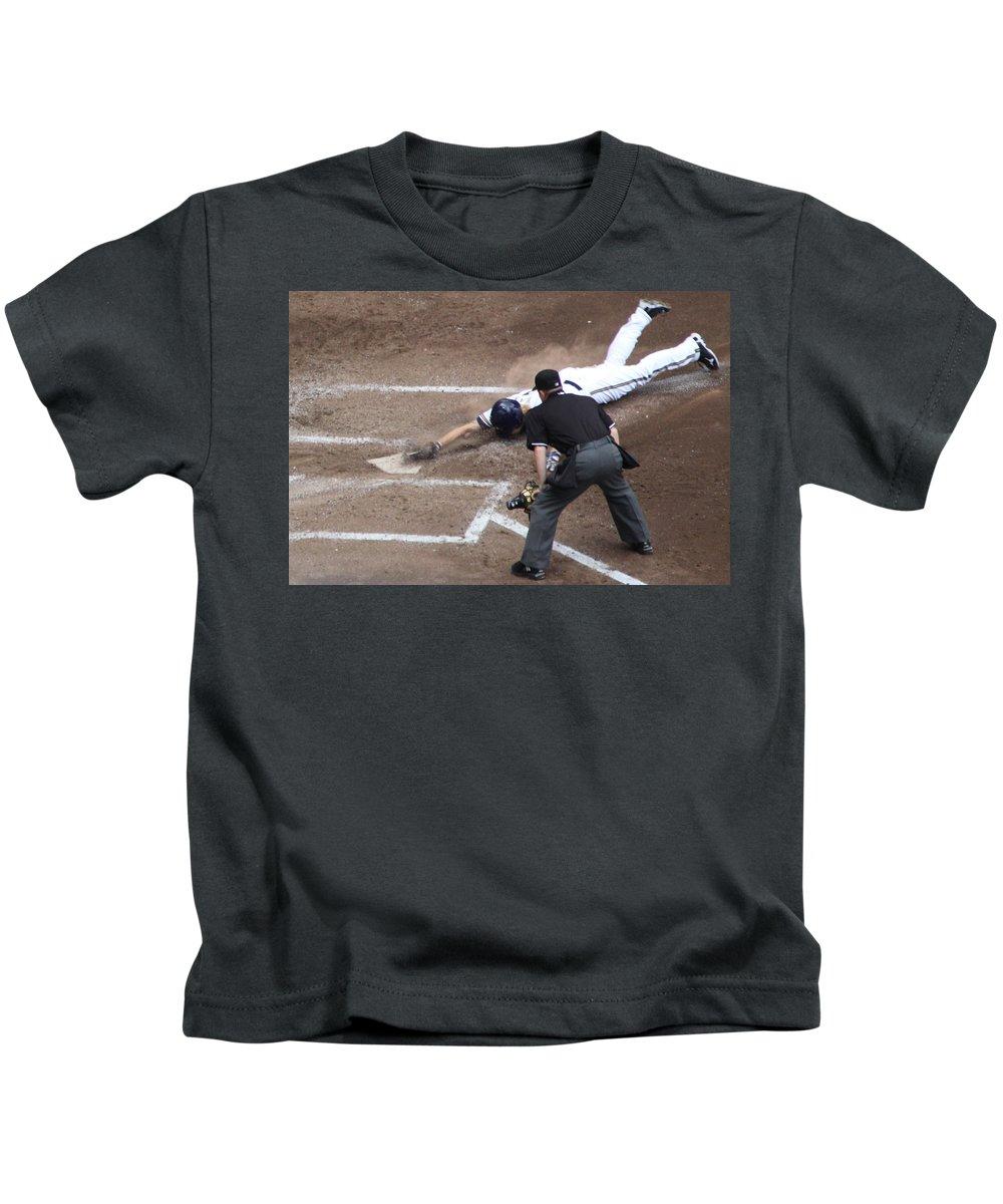Baseball Kids T-Shirt featuring the photograph Safe by Lauri Novak