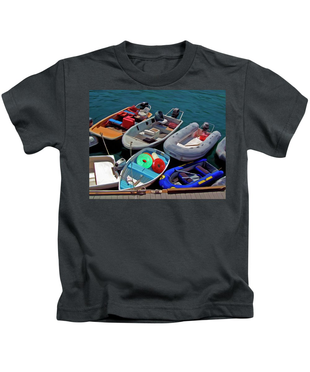 Boats Kids T-Shirt featuring the painting Safety First by Snake Jagger