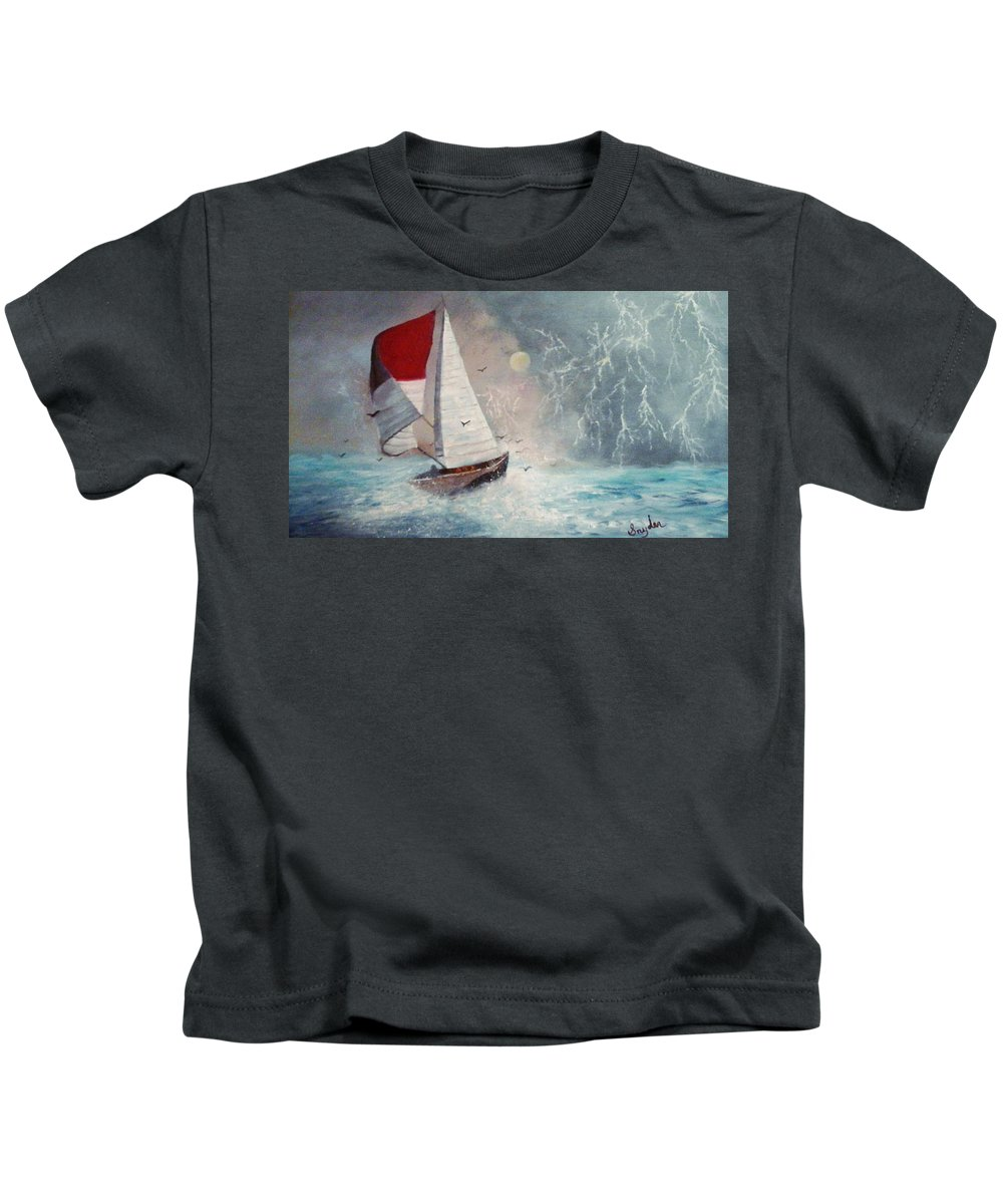 Sailboat Kids T-Shirt featuring the painting Sailboat 2 by Beth Boone Snyder