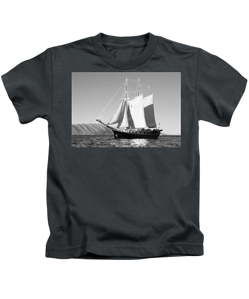 Boat Kids T-Shirt featuring the painting Sailboat - Id 16235-142735-0101 by S Lurk