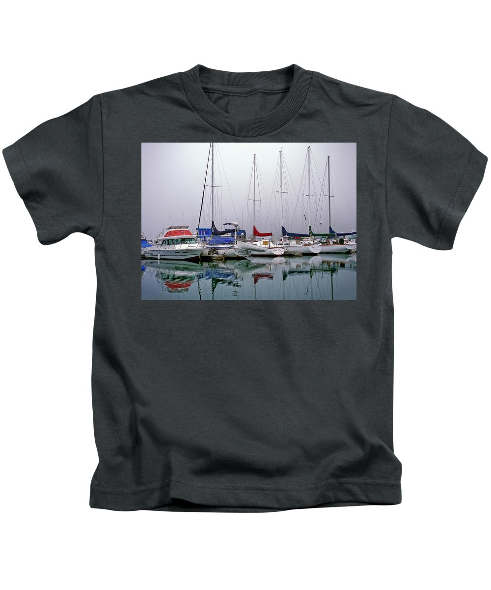 Boats Kids T-Shirt featuring the photograph Sailboats In The Fog by Robert Potts