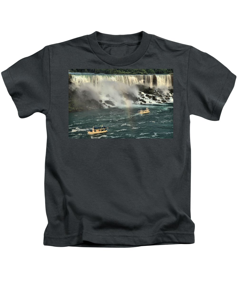 Niagara Falls State Park Kids T-Shirt featuring the photograph Sailing Into The Mist by Adam Jewell