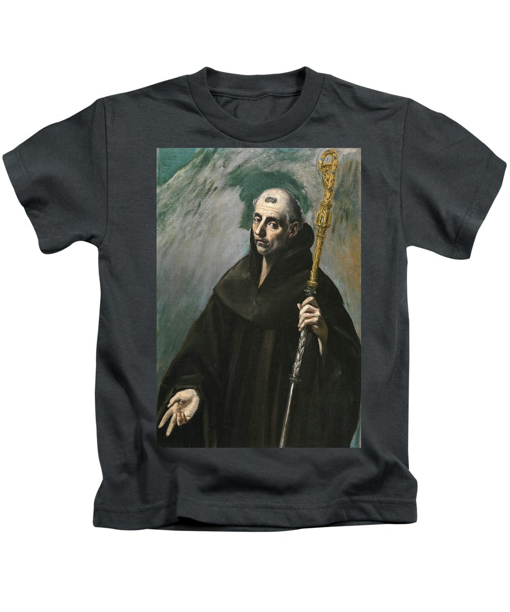 Benedict Kids T-Shirt featuring the painting Saint Benedict by El Greco