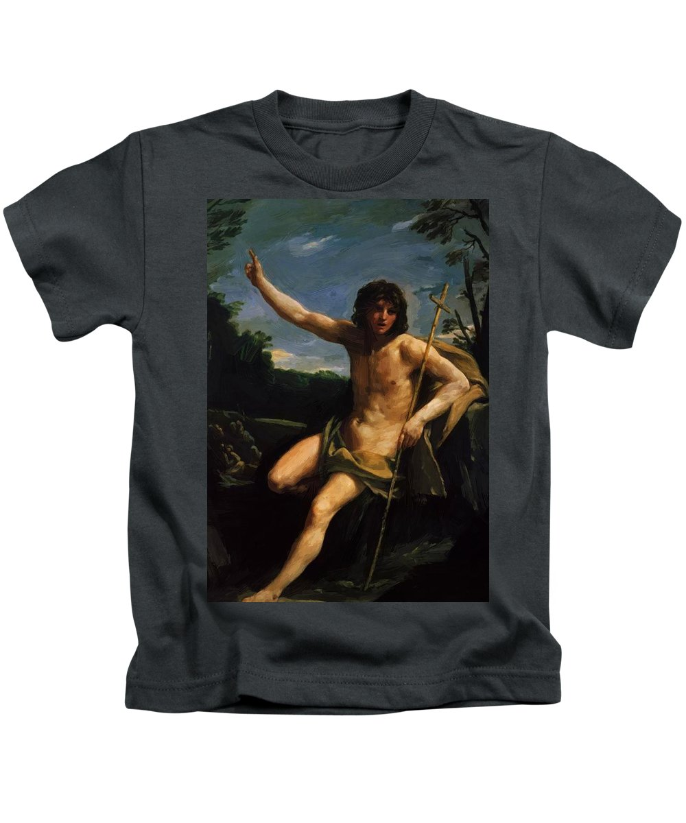 Saint Kids T-Shirt featuring the painting Saint John The Baptist 1637 by Reni Guido