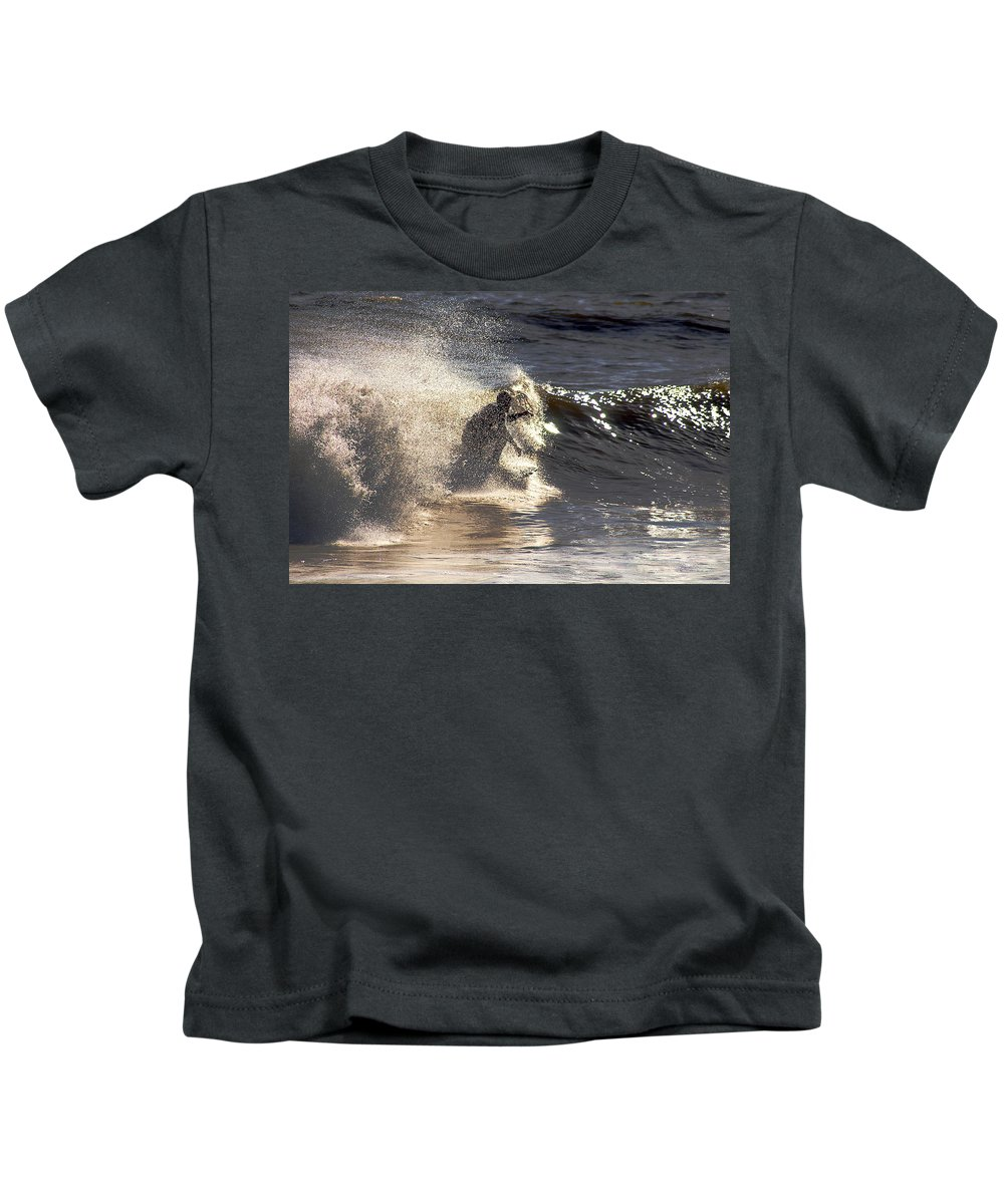 Clay Kids T-Shirt featuring the photograph Salt Spray Surfing by Clayton Bruster
