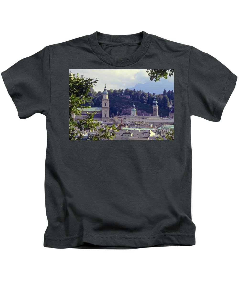 Salzburg Austria Tree Trees Building Buildings Structure Structures Architecture Landscape Landscapes Church Churches Place Places Of Worship City Cities Cityscape Cityscapes Kids T-Shirt featuring the photograph Salzburg City View Two by Bob Phillips