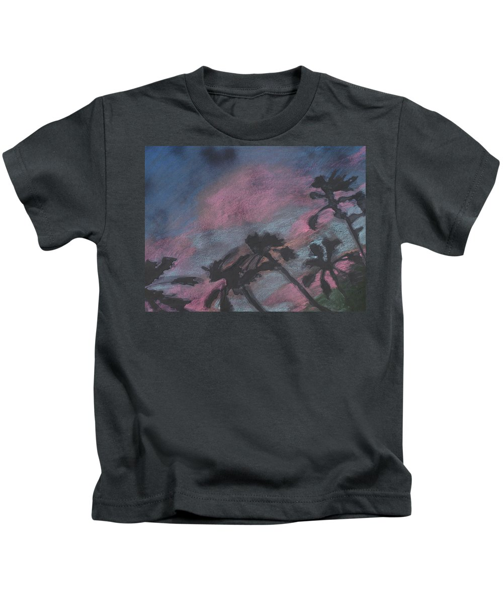 Contemporary Tree Landscapes Kids T-Shirt featuring the drawing San Diego Palms by Leah Tomaino