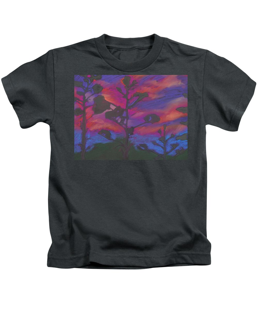 Contemporary Tree Landscape Kids T-Shirt featuring the mixed media San Diego Sunset by Leah Tomaino