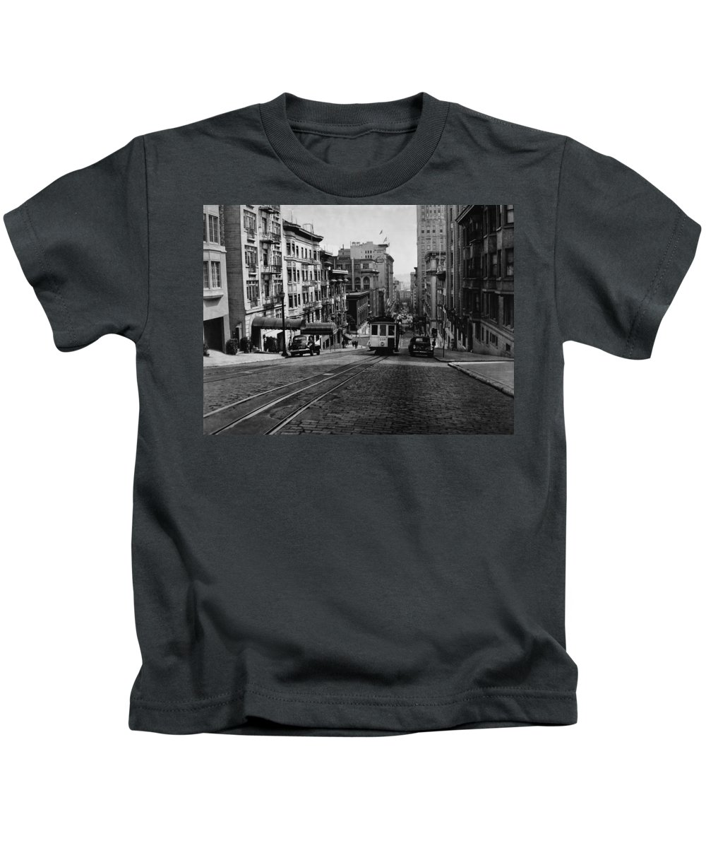 Cityscape Kids T-Shirt featuring the photograph San Francisco 1945 by Mountain Dreams