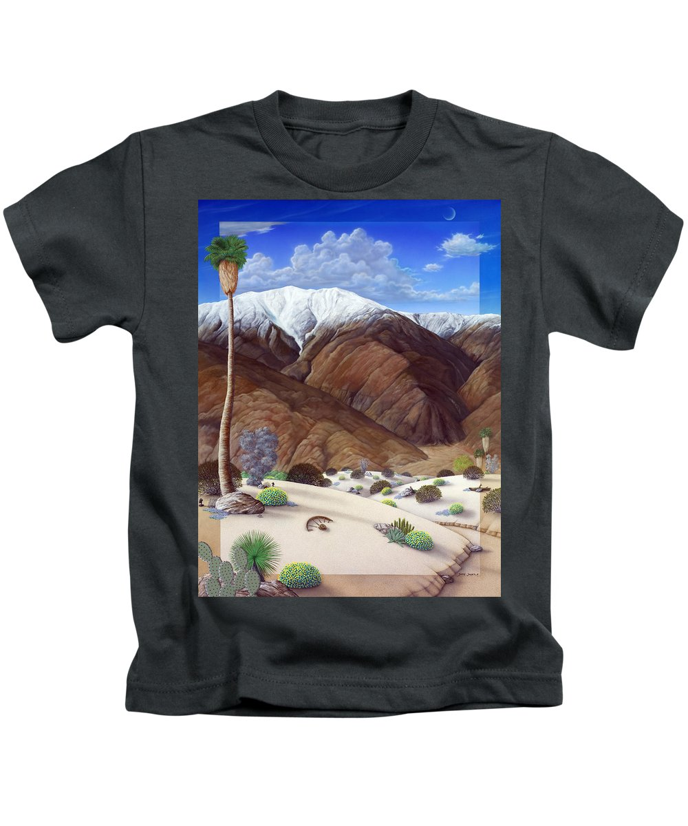 Desert Kids T-Shirt featuring the painting Snow Creek by Snake Jagger