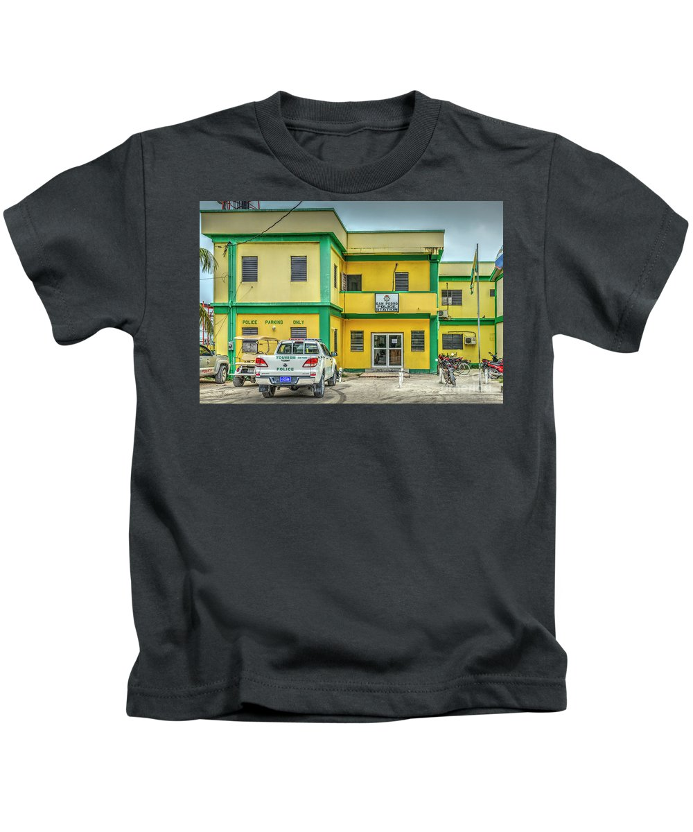 San Pedro Belize Kids T-Shirt featuring the photograph San Pedro Belize Police Station by David Zanzinger