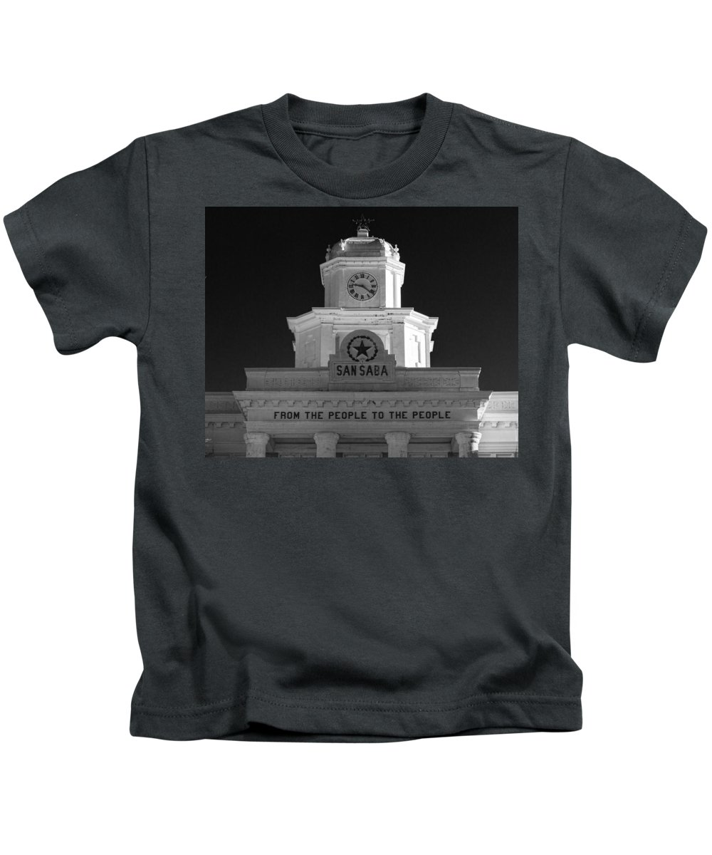 Courthouse Kids T-Shirt featuring the photograph San Saba Couthouse by Stephen Stookey