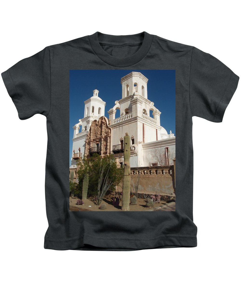 Architecture Kids T-Shirt featuring the photograph San Xavier Del Bac by Dennis Boyd